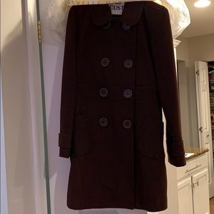 Tulle brand brown pea coat double breasted